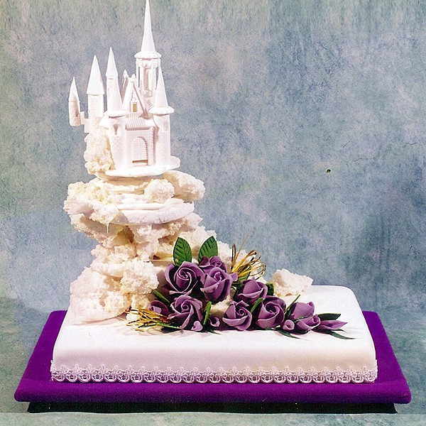 Castle Cake with Purple Roses