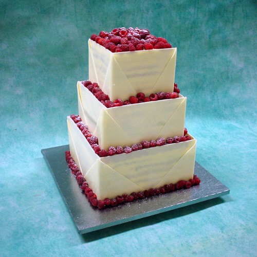 3 Tier Chocolate Envelope Cake with Fresh Berries