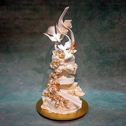 Abstract Birds And Gold Roses Wedding Cake
