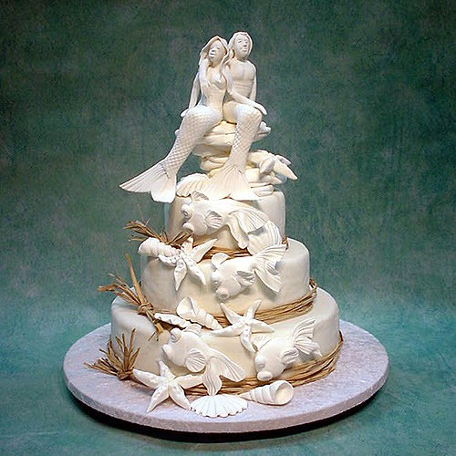3 Tier Mermaid Couple Wedding Cake