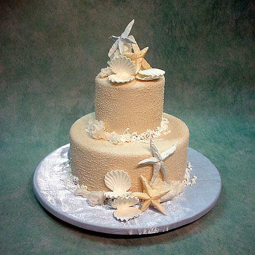 2 Tier Beach Wedding Cake