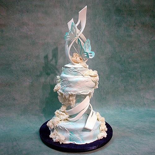 Abstract Butterflies Wedding Cake