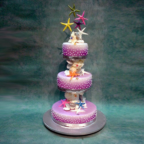 3 Tier Purple Shells Wedding Cake