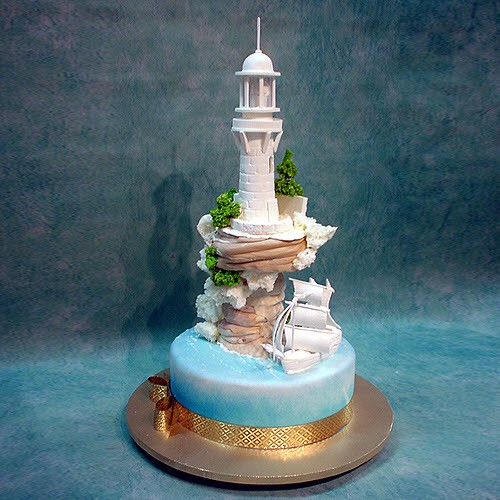 Lighthouse And Boat Wedding Cake