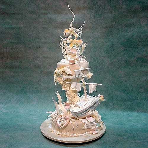 Under Water Scenery Wedding Cake