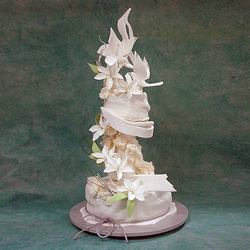 Abstract Wedding Cake with Birds And Lilies