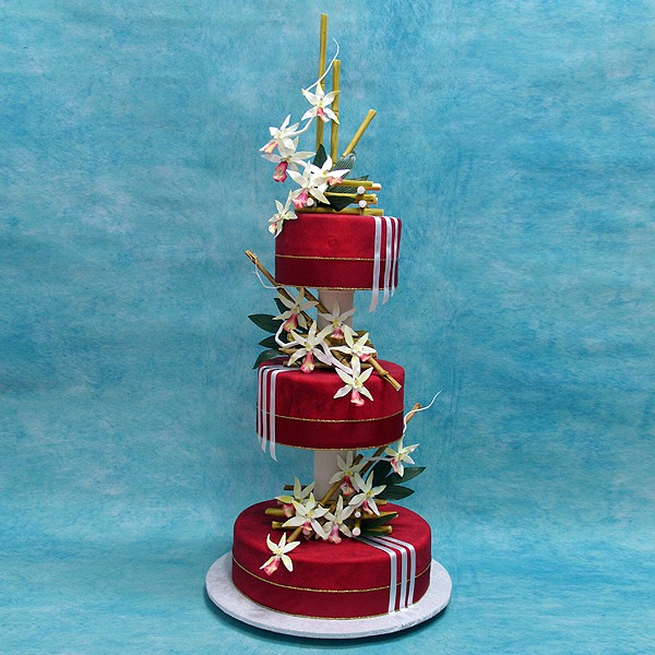 Orchids on Red Icing