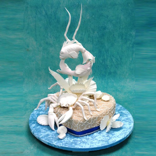 Single Tier Wedding Cake with Crab And Fishes