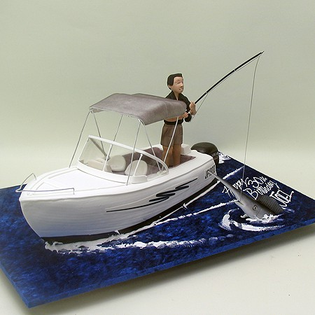 Fishing Man on A Boat Cake