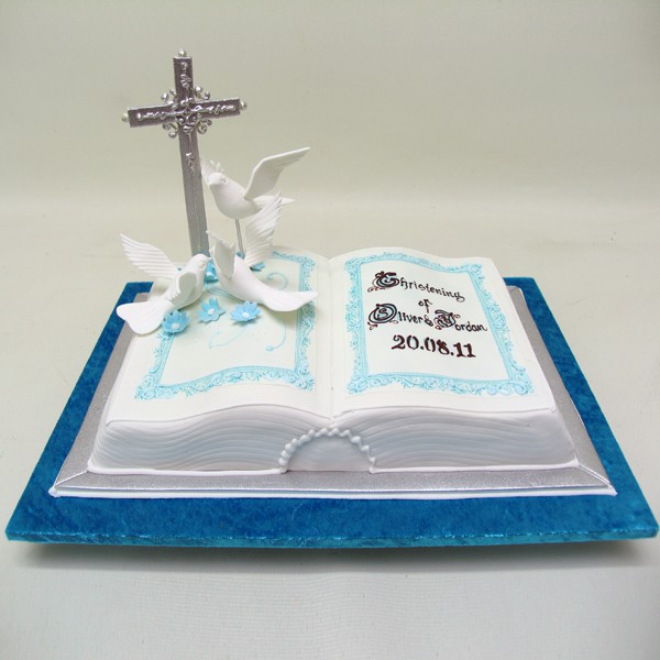 bible doves christening special cakes