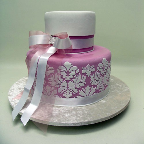 Pink And White Stenciling Cake