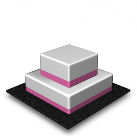 2 Tier - Square - Medium - 68 Portions