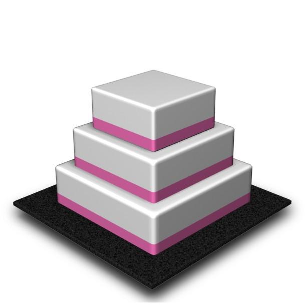 3 Tier - Square - Medium - 100 Portions