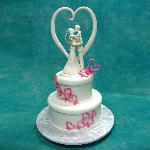 Wedding Cake with Porcelain Couple