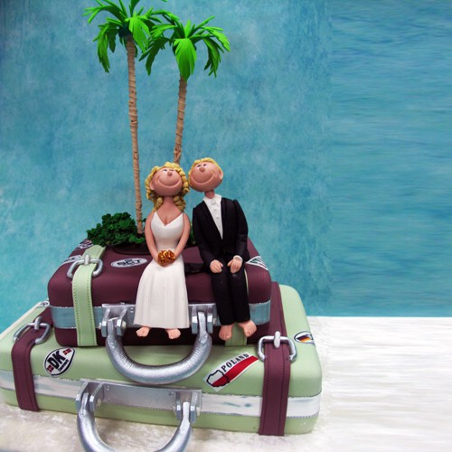 Wedding Couple on Luggages