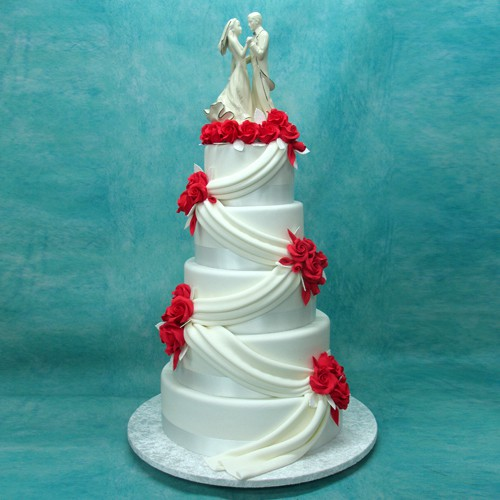 5 Tier Wedding Cake with Porcelain Couple