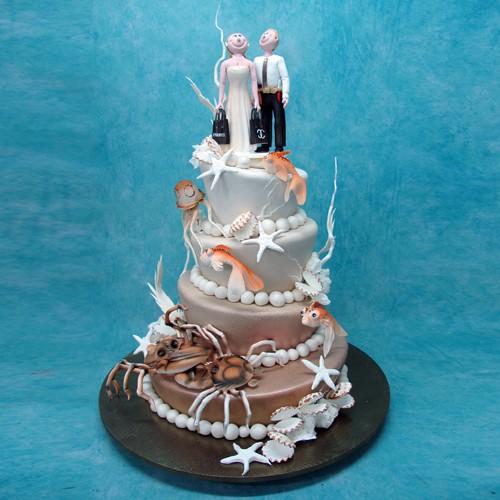 4 Tier Beach Theme Wedding Cake