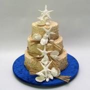 Beach Theme Cake - 3 Tiers - 78 Portions