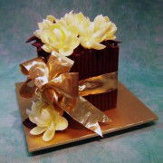 Cube Chocolate Wedding Cake with Chocolate Flowers