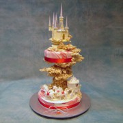 White Chocolate Castle Wedding Cake with Cinderella Coach