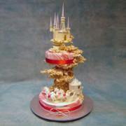 White Chocolate Castle Wedding Cake with Cinderella Coach