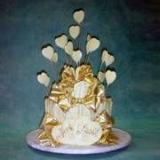 Chocolate Fence Wedding Cake with Lots Of Hearts