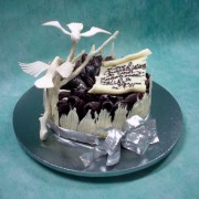 Single Tier Chocolate Wedding Cake with Sugar Birds