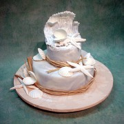 Seashells And Wave Wedding Cake