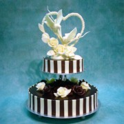 Black And White Chocolate Wedding Cakes with Double Doves