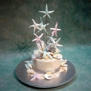1 Tier Wedding Cake with Star Fishes