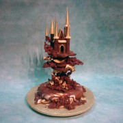 Chocolate Castle Cake with Gold Towers