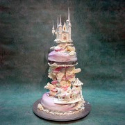 Pink Castle And Coach Wedding Cake