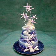 3 Tier Wedding Cake with Star Fishes And Shells