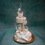 Double Swans And Waterfall Wedding Cake
