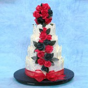 White Chocolate Fence Wedding Cake with Red Roses