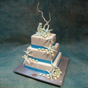 3 Tier Square Wedding Cake with Star Fishes And Sugar Almond