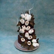 Dark Chocolate Wedding Cake with Sugar Tulips