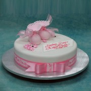 Pink Booties Christening Cake