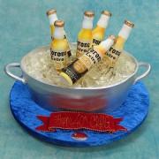 Corona bottles in ice bucket