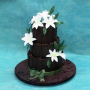 Dark Chocolate Panels Wedding Cake with Sugar Lilies