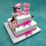 Pig Couple Wedding Cake