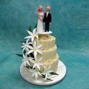 Wedding Cake with White Lilies