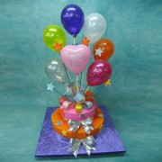 Baloons on A 2 Tier Cake
