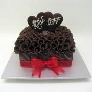 Square Chocolate Wedding Cake with Chocolate Curls