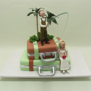 Fishing on Luggage Wedding Cake