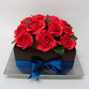 Square Chocolate Wedding Cake with Large Red Roses