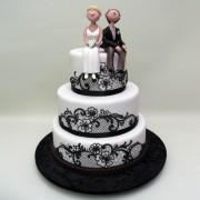 Black Lace Piping Wedding Cake