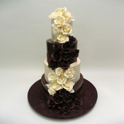 Black And White Chocolate Wedding Cake with Chocolate Roses