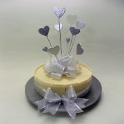 Single Tier Chocolate Wedding Cake with Silver Hearts on Sticks