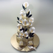 Chocolate Fence Wedding Cake with Calla Lilies
